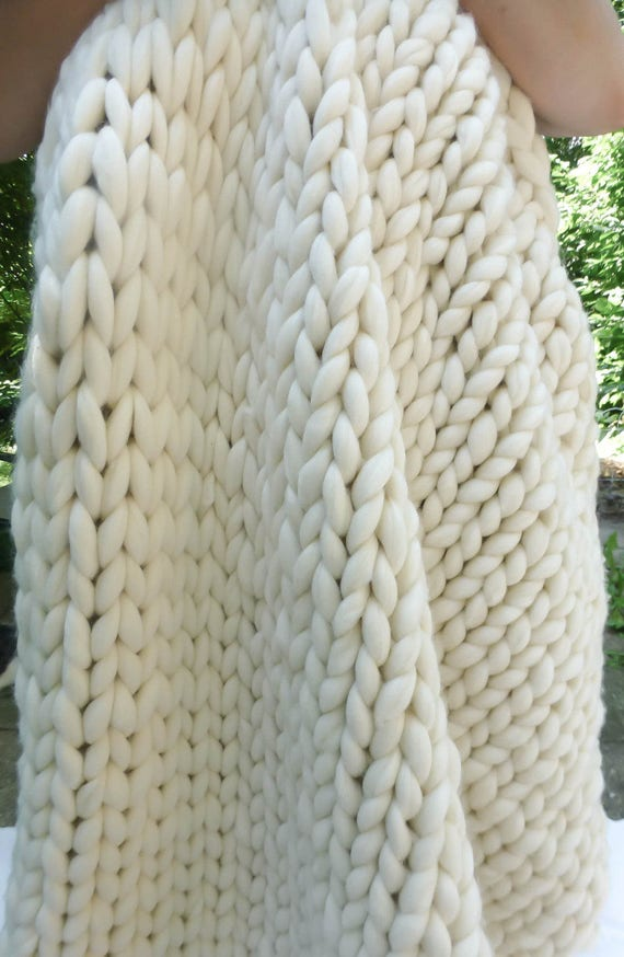 "Chunky Blanket, 50x70"", Merino Wool, Natural, Hand Knit, Extreme Knitting"
