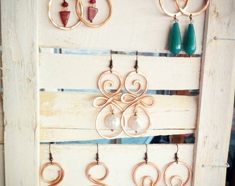 Gold, copper, silver and natural stone hammered earrings