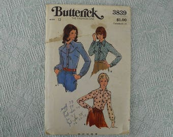 Butterick Sewing Pattern 3839 shirt blouse from the 1970s size 12