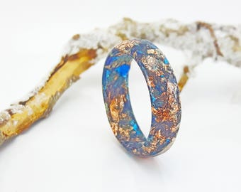 Resin Ring With Copper Flakes - Thin Faceted Band Ring - Resin Stacking Ring - Minimal Resin Jewelry