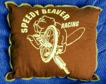 Speedy Beaver-Upcycled Safe-Sex Pillow, w/ Condom & Lube Pockets, OOAK, brown, green, bicycle, bike, tire, racing, animal, mammal