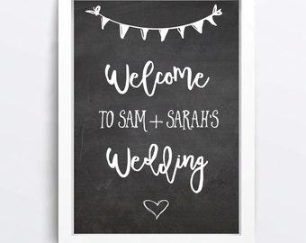 Welcome to our wedding chalkboard - Wedding Sign Chalkboard - Custom