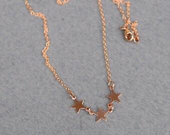 Dreifach Stern Halsband Rose Gold, Rose Gold Halsband, Stern-Halsketten, Rose Gold, Rosa Halskette, einfachen Schmuck, N048