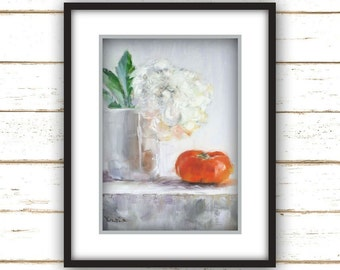 White Peony - Large Home Decor Wall Art Print - Orange Persimmon Fruit, Flower Still Life Painting Print