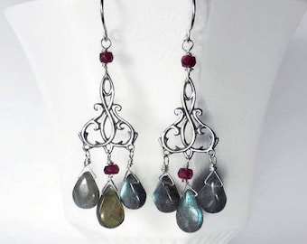 Gemstone Chandelier Earrings Labradorite Chandelier Earrings Labradorite Designer Earrings Sterling Silver