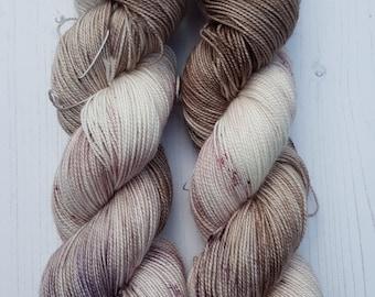 Latte Bunny 4ply hand dyed sock yarn.