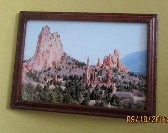 doll house miniature framed photo rocks