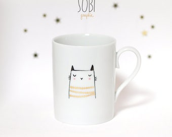 "Mug ""cat"" Handpainting"