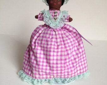 Topsy Turvy Reversible Doll, Fabric Art Doll - Violet Bows
