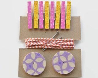 Photo Hanging Kit ~ Kid's Art Hanging Kit  ~ Art Display Kit ~ Pink, Yellow, Orange and Lavender
