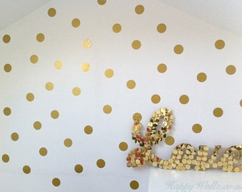 100 Gold Metallic Polka Dot Wall Stickers
