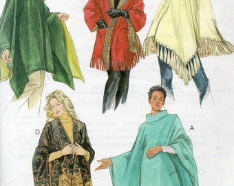 Easy McCall's Pattern 4228 PONCHOS WRAPS Reversible HOODED Poncho Misses Xs Small Med