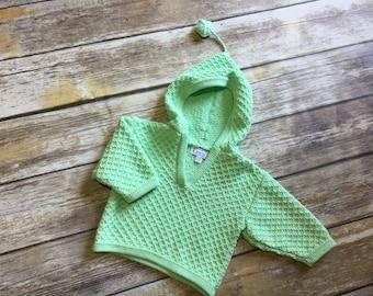 Knit organic cotton baby hoodie mint 6-12m 3D star