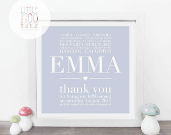 Bridesmaid Gift - Thank You Bridesmaid Gift - Maid of honour Gift - Gift for Bridesmaids - Best Friend Gift - Bridal Shower Gift - Wall Art