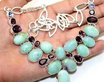 Natural  Chrysoprase , Amethyst Quartz Handmade 925 Silver Plated Cluster Necklace Jewelry B 605