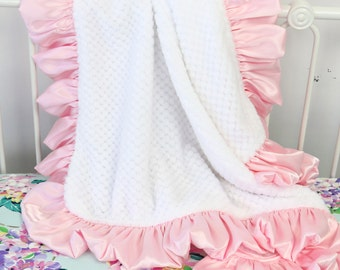 White with Light Pink Satin Ruffle Minky Baby Girl Blanket | Light Pink, Blush, White, Soft,  Minky Baby Girl Blanket | Stroller Accessery