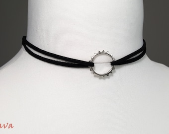 Choker necklace collar vintage ring silver