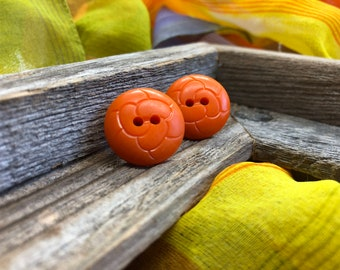 Vintage Orange Button Earrings
