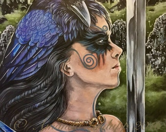 "NEW A4 ""Morrigan and Ravens"" Mounted Print"