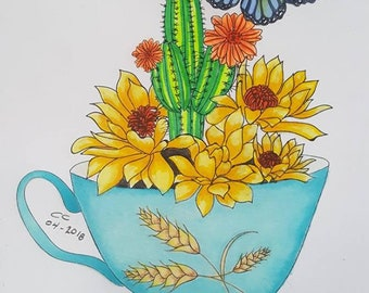 Coloring Book for Adults, Cactus, butterfly