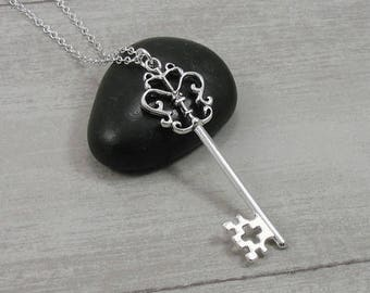 Ornate Key Necklace, Silver Plated Fancy Key Pendant Charm on a Silver Cable Chain