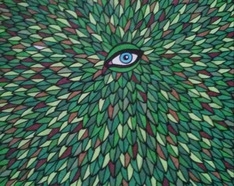 Green and Brown Leaves Blue Eye Pen and Ink Drawing