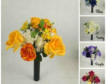 Artificial/Silk Rose, Hydrangea, Ranunculus Bush/Bunch Flower Yellow, Pink, Ivory, Purple, Blue.