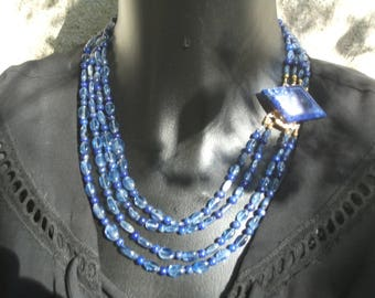 Four rows of kyanite and AAA lapis necklace.