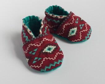 SALE Aztec soft sole shoe, Aztec moccasin, Aztec crib shoe, Aztec baby shoe