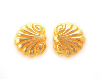 Beautiful Fleur De Lys Cabochons, Yellow and Gold Cabochons, Acrylic Vintage Flat Back Cabochons, Art Deco Lotus Vintage Beads,set of 2