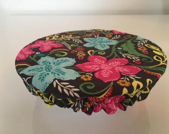 Reusable Eco-Friendly Fabric Food Snack Bowl Mug Covers Lids Pink Blue Flowers