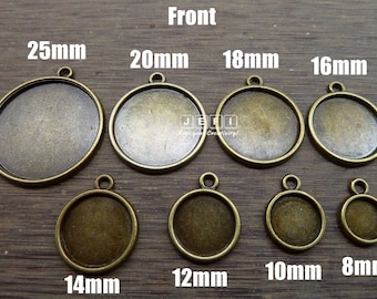 Pendant Trays 8mm/ 10mm/ 12mm/ 14mm/ 16mm/ 18mm/ 20mm/ 25mm Round Bezel Setting W/ Ring Antique Bronzed Zinc Alloy