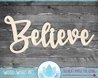 Believe, Large Wood Word Sign, Wood Believe Sign, Unfinshed For DIY Painting, Gallery Wall Holiday Wood Sign, Blank Wood Shapes