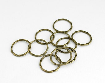 Antique Brass Hammered Linking Rings Circle Charms - 20 Pieces