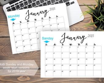 2018 PRINTABLE Calendar 2018 Editable Calendar Wall Calendar Pages Monthly Desk Calendar Printable PDF Calender 2018 Calendar Printable 2018
