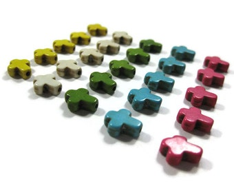 10mm Extra Small Howlite Cross Beads Set of 25