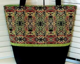 "Green & Black Misses HANDBAG TOTE PURSE ""Kaleidoscope"" Art Deco Style Cotton Print Fabric Double Handles Gray Mountain Purse-A-Nalities"