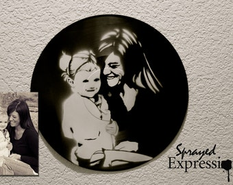 Customizable Family Portrait Spray Paintings on Upcycled Vinyl Record - Made to Order