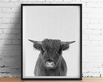 French Country Cow Printable Art, Farmhouse Decor Nursery Cow Print, Rustic Wall Art, Black and White Photograph Poster Dorm Vegan Download