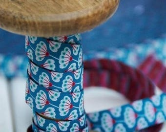 Floral blue farbenmix Ribbon 15mm by the yard