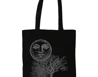 Moon And Trees. Graphic Tote Bag. Black.
