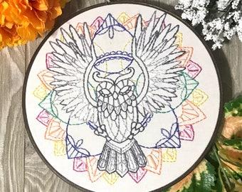 Owl Embroidery Art, Handmade Owl Art Wall Art, Geometric Art, Hand Embroidered Hoop Art