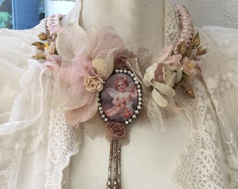 Ooak hand made vintage statement necklace  Guardian angel