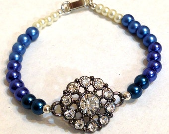 Blue Ombre Glass Pearl Bracelet with Rhinestone Focal Accent, Blue Teal Ecru, Mother's Day Gift
