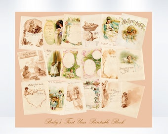 Baby Book Printable Edwardian Gisbon Girl Art Baby's First Year Colorful Imagery Digital Download New Baby Memory Book DIY Baby Shower Gift