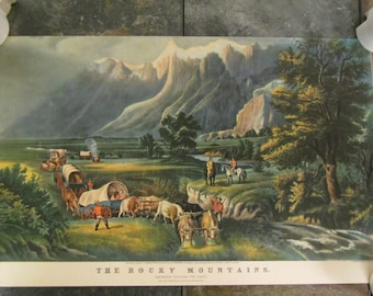 "Vintage Currier & Ives "" THE ROCKY MOUNTAINS ""  litho print ; Emigrants crossing the plains : 16 3/4 x 10 3/4 inches"