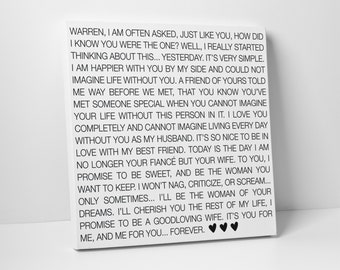 Wedding Sign, Black & White, Wedding Vow Art