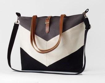 LARGE, Black gray chevron Tote,  Diaper bag, Shoulder bag, Handbag, Work bag, School bag. 9 inside pockets. Waterproof poly lining available
