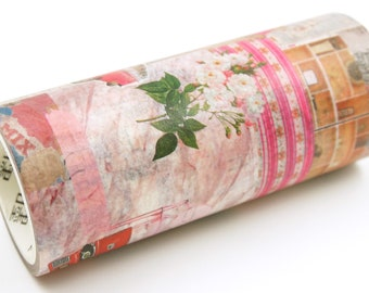 Collage Art 03 Pink Color - Wide Japanese Washi Masking Tape - 100mm wide - 5.5 yard