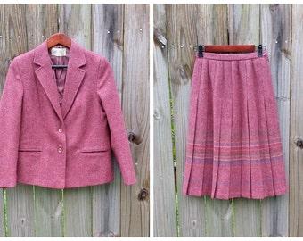 S Small Petite Women's The Edinburgh Woollen Mill 80s Classic Wool Suit Preppy Skirt Blazer
